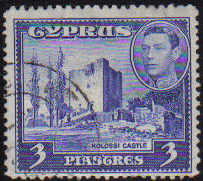 Cyprus Stamps SG 156a 1942 KGVI  3 Piastres - USED (d352)