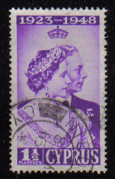 Cyprus Stamps SG 166 1948 Royal Silver Wedding 1 1/2 Piastres - USED (d328)