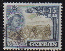 Cyprus Stamps SG 177 1955 QEII  15 Mils - USED (d334)
