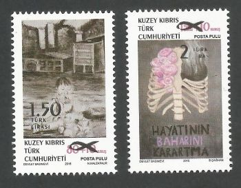 North Cyprus Stamps SG 2018 (a) Surcharged Overprint of the 2015 Struggle with cancer stamps - MINT