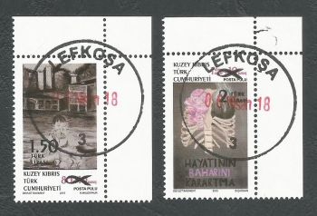 North Cyprus Stamps SG 2018 (a) Surcharged Overprint of the 2015 Struggle with cancer stamps - CTO USED (k627)