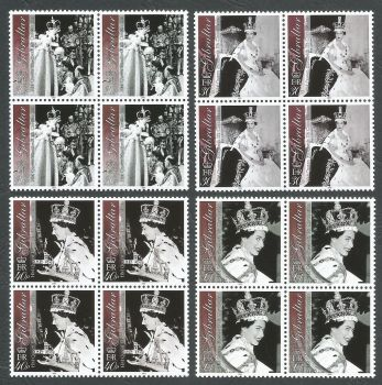 Gibraltar Stamps SG 1031-34 2003 50th Anniversary of the Coronation of Queen Elizabeth the second - Block of 4 MINT
