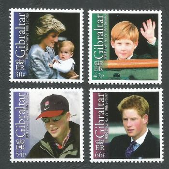 Gibraltar Stamps SG 1020-23 2002 18th Birthday of Prince Harry - MINT