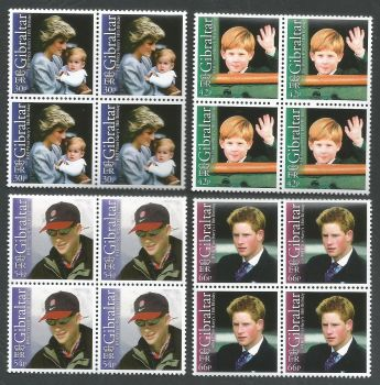 Gibraltar Stamps SG 1020-23 2002 18th Birthday of Prince Harry - Block of 4 MINT
