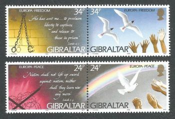 Gibraltar Stamps SG 0740-43 1995 Europa Peace and Freedom - MINT