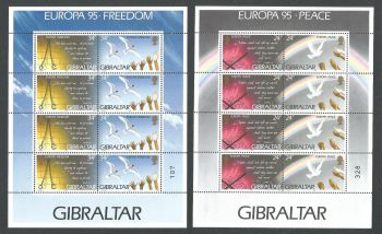 Gibraltar Stamps SG 0740-43 1995 Europa Peace and Freedom - Full sheet MINT (k635)