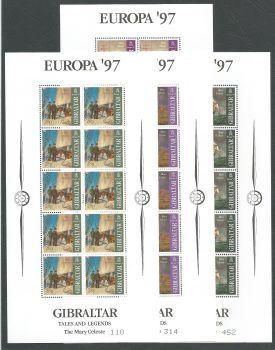 Gibraltar Stamps SG 0793-96 1997 Europa Myths and Legends Full sheets - MINT (k631)