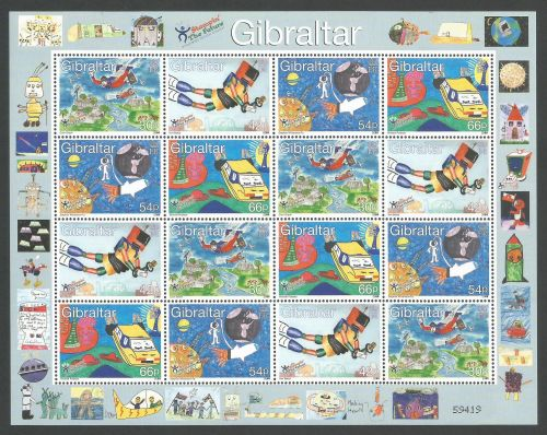 Gibraltar Stamps SG 0903-06 2000 Childrens stamp design Full sheet - MINT (