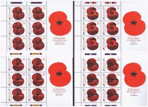 Gibraltar Stamps SG 1381-88 2011 Royal British Legion Poppy appeal Full she