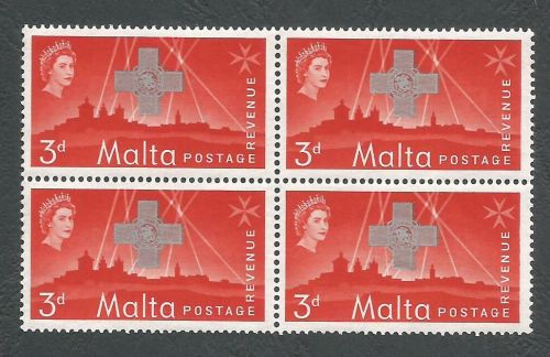 Malta Stamps SG 284 1957 3d Block of 4 - MINT