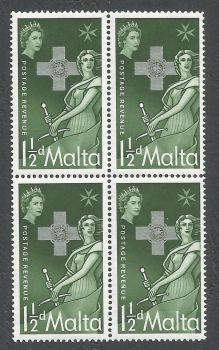 Malta Stamps SG 0283 1957 1 1/2d Block of 4 - MINT