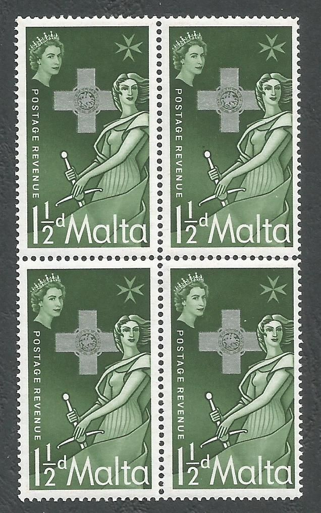 Malta Stamps SG 0283 1957 1 1/2d Block of 4 - MINT