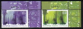 Cyprus Stamps SG 1246-47 2011 Europa Forests Control numbers - MINT (e167)