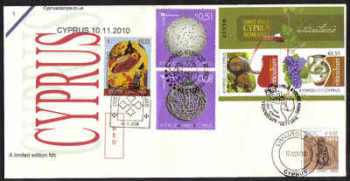 Cyprus Stamps SG 1233 and all 10th November issues 2010  - Unofficial FDC (d405)