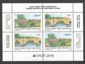 North Cyprus Stamps SG 2018 (b) Europa Bridges Mini sheet - MINT