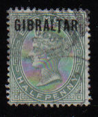 Gibraltar Stamps SG 0001 1886 Halfpenny - USED (d447)
