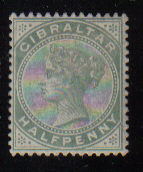 Gibraltar Stamps SG 0008 1887 Halfpenny - MH (d454)