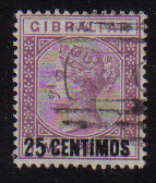 Gibraltar Stamps SG 0017 1889 25 Centimos - USED (d458)