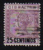 Gibraltar Stamps SG 0017 1889 25 Centimos - USED (d458)