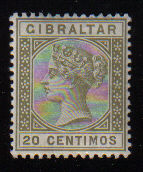 Gibraltar Stamps SG 0025 1896 20 Centimos - MINT (d455)