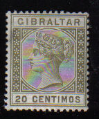 Gibraltar Stamps SG 0025 1896 20 Centimos - MLH (d456)