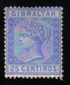 Gibraltar Stamps SG 0026 1889 25 Centimos - MH (d457)