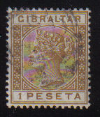 Gibraltar Stamps SG 0030 1889 1 Peseta - USED (d459)