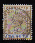 Gibraltar Stamps SG 0031 1895 1 Peseta - USED (d449)