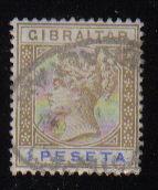Gibraltar Stamps SG 0031 1895 1 Peseta - USED (d450)