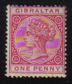 Gibraltar Stamps SG 0040 1898 One penny - MLH (d460)