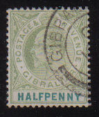 Gibraltar Stamps SG 0046 1903 Halfpenny - USED (d462)