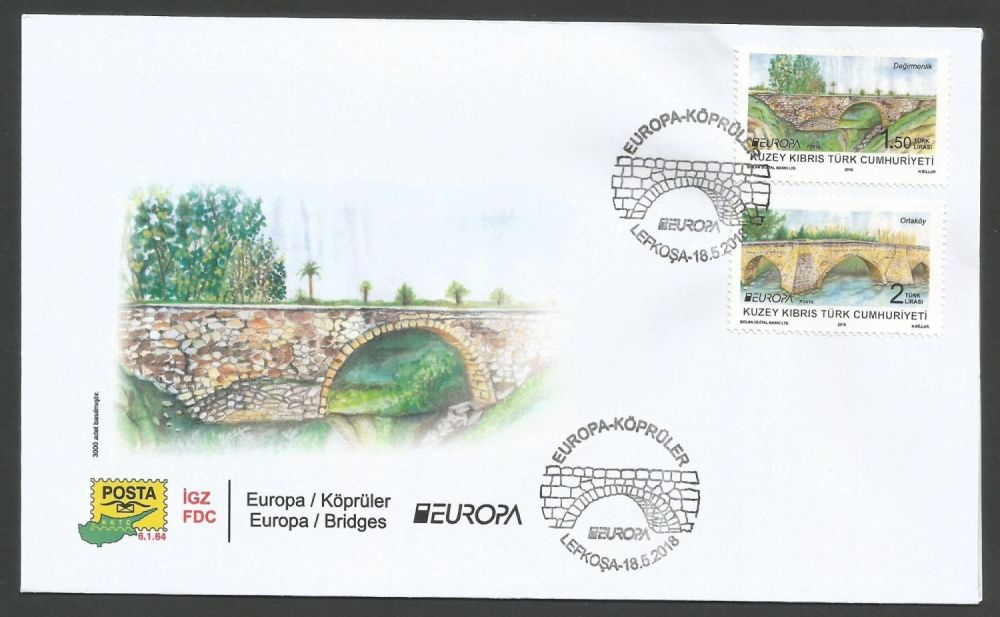 North Cyprus Stamps SG 2018 EUROPA Bridges - Official FDC