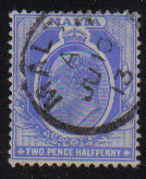 Malta Stamps SG 0053 1911 Two and halfpenny - USED (d437)