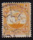 Malta Stamps SG 0058 1912 Four and halfpenny - USED (d438)