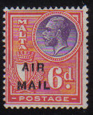 Malta Stamps SG 0173 1928 Six penny Air Mail Overprint - MLH (d439)