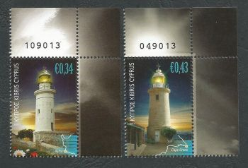 Cyprus Stamps SG 1248-49 2011 Lighthouses Control numbers (not matching) - MINT (k703)