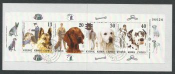 Cyprus Stamps SG 1098-101 (SB8) 2005 Dogs in a mans life - Booklet CTO USED (k708)