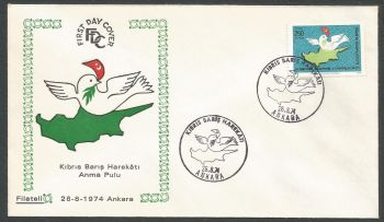 "Turkish 1974 ""Peace in Cyprus"" - FDC (k598)"
