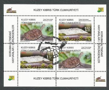 North Cyprus Stamps SG 0842-43 2018 Protected Animals Reptiles - Souvenir Sheet CTO USED (K748)