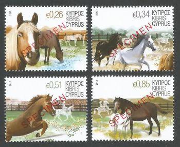 Cyprus Stamps SG 1266-69 2012 Horses - Specimen MINT