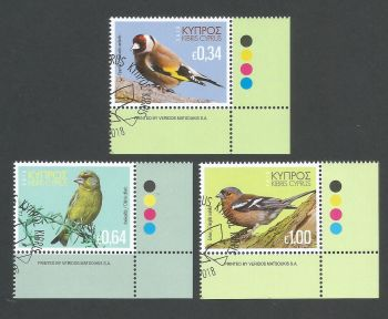 Cyprus Stamps SG 1443-45 2018 Birds of Cyprus - CTO USED (k800)