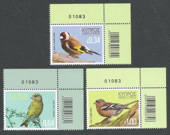 Cyprus Stamps SG 1443-45 2018 Birds of Cyprus - Control Numbers MINT