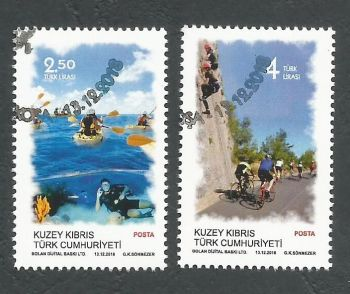 North Cyprus Stamps SG 0845-46 2018 Outdoor Sports - CTO USED (k804)