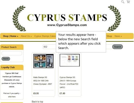 Cyprus stamps product search with issue number without SG entered