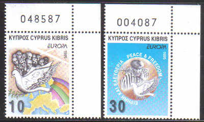 Cyprus Stamps SG 883-84 1995 Europa Peace and freedom - MINT (d508)