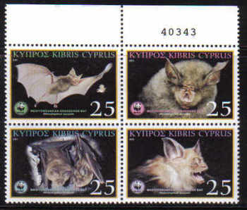 Cyprus Stamps SG 1053-56 2003 Mediterranean Horseshoe Bat - Control numbers MINT (d538)