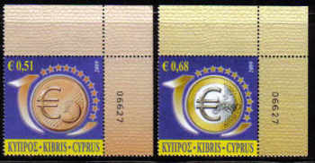 Cyprus Stamps SG 1182-83 2009 10th Anniversary of the Euro - Control numbers MINT (d543)