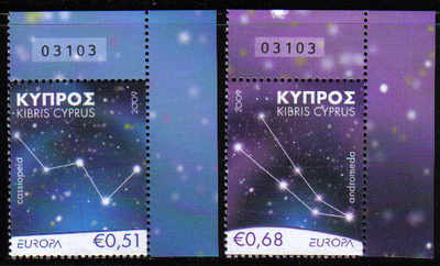 Cyprus Stamps SG 1188-89 2009 Europa Astronomy - Control numbers MINT (d547