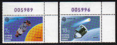 Cyprus Stamps SG 798-99 1991 Europa Space - MINT (d499)