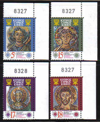 CYPRUS STAMPS SG 794-97 1991 MOSAICS KANAKARIA CHURCH - MINT (d494)